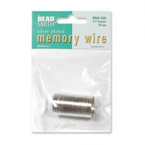 Beadsmith Silver Plated Ring Size Memory Wire Pack